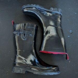 Capelli NY Mid Calf Black Glossy Rain Boots size 6
